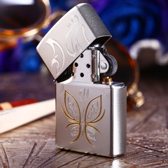 Zippo Golden Butterfly Satin Chrome 4