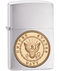 Zippo US Navy Emblem Brushed Chrome