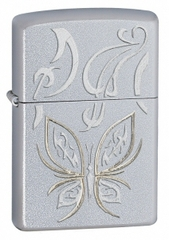 Zippo Golden Butterfly Satin Chrome