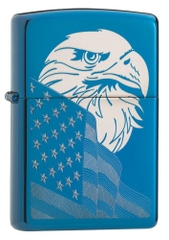 Zippo High Polish Blue Eagle and Flag 29882