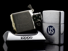 Zippo Cổ US Rubber Brushed Chrome 1962 4 Gạch 7