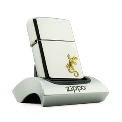 Zippo High Polish Chrome Khắc Logo Lizard - Thằn Lằn