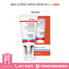 Kem chống nắng Dr.wu UV Hydrating Lotion With Hyaluronic Acid SPF50+ 30ml