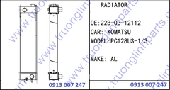 RADIATOR 20B-03-12112 for Excavator Komatsu PC128US-1 PC128-3