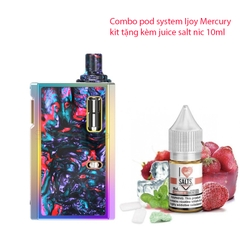 Combo pod system Ijoy Mercury kit kèm juice salt nic 10ml