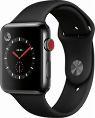 Apple Watch Series 3 GPS + Cellular 42mm, Space Black Stainless Steel Case with Black Sport Band