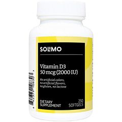 Solimo Vitamin D3 50mcg (2000 IU), 250 Softgels