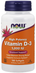 NOW Vitamin D3 1000 IU, 180 Softgels
