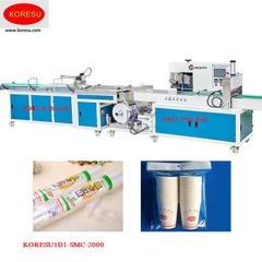 Máy đếm và đóng gói hàng đôi tự động cho sản phẩm cốc dùng một lần.