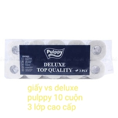 Giấy vệ sinh deluxe pulppy 10 cuộn 3 lớp cao cấp