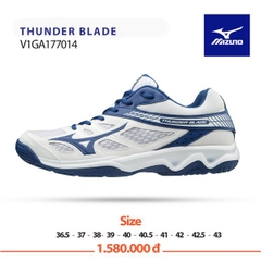Badminton Shoes Mizuno Thunder Blade White Blue VIGA177014