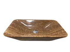 BST55 - STONE BASIN- POLISHED YELLOW WOODEN MARBLE - RECTANGLE SHAPE WITH THIN BOTTOM