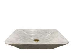 BST57-STONE BASIN- POLISHED WHITE MARBLE - RECTANGLE SHAPE WITH THIN BOTTOM