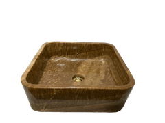 BST58- STONE BASIN - POLISHED WOODEN YELLOW MARBLE- SQUARE SHAPE WITH THICK BOTTOM