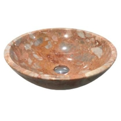 NATURAL STONE BATHROOM BASIN - PINK MARBLE - BST09