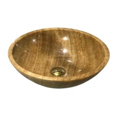 NATURAL STONE BATHROOM BASIN - WOODEN YELLOW - BST35