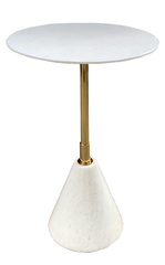 MARBLE SIDE TABLE - CONE SHAPED BASE - T16 - PURE WHITE