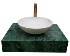 NATURAL STONE LAVABO TABLE - INDIA GREEN MARBLE LT06