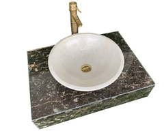 NATURAL STONE LAVABO TABLE - ITALY BROWN MARBLE LT04