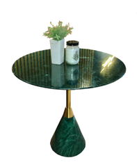 MARBLE LOW SIDE TABLE - CONE SHAPED BASE - T16 - INDIA GREEN