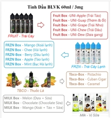 Tinh Dầu Vape BLVK FRUIT-Box (3MG/60ML) - (Uni-Dew - Dưa Gang)