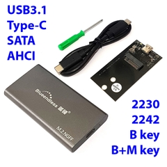 Box SSD M.2 2242 SATA, AHCI USB3.1 type-C Blueendless M240C