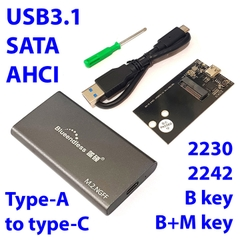 Box SSD M.2 2242 SATA, AHCI USB-A-C 3.1 Blueendless M240C