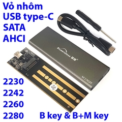 Box SSD M.2 SATA, AHCI USB-C 3.1 Blueendless M280C