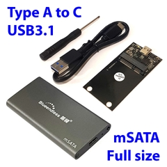Box SSD mSATA USB-A-C 3.1 Blueendless M3C