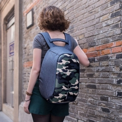 Bobby Compact Anti-Theft backpack, Camouflage Blue