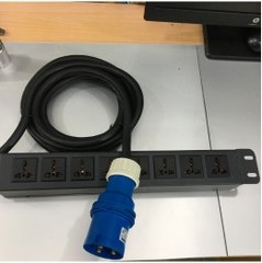 Thanh Nguồn PDU 1U Rack 19 8 Way Universal UK Outlet Công Suất Max 32A 250V to IP44 IEC309-2 Plug Power Cord 3x4.0mm Length 4.5M