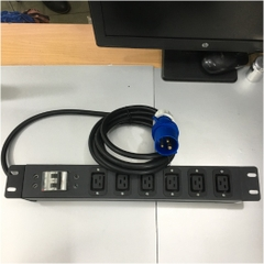 Thanh Nguồn PDU 1U Rack 19 6 Way Universal UK Outlet Có MCB BHW-T4 C32 MITSUBISHI Công Suất Max 16A 250V to IP44 IEC309-2 Plug Power Cord 3x2.5mm Length 3M