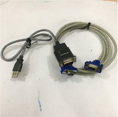 Bộ Cáp Chuyển Đổi USB 2.0 to Serial RS232C Elecom Và Cáp RS232C 6232-9F9F-03CR Null Modem With Full Handshaking DB9 Female to DB9 Female Cable PVC Beige