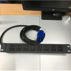 Thanh Nguồn PDU 1U Rack 19 8 Way Universal UK Outlet Công Suất Max 16A 250V to IP44 IEC309-2 Plug Power Cord 3x2.5mm Length 3M