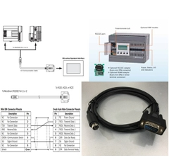Cáp Lập Trình Communication Cable FC4A-KC1C RS232C Mini Din 8 Pin Male to DB9 Male 1.8M For PLC IDEC MicroSmart RS232C Port 1 or 2 Với PANEL HMI TOUCH SCREEN IDEC HG1B HG2A or HG2C Series