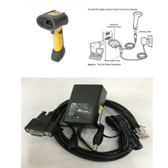 Bộ Cáp Cho Máy Quét Symbol DS3508  Barcode Scanner CBA-R37-C09ZAR Cable RS232 to RJ50 10Pin Cable with DC Power và Adapter 5V 1.5A DC Power Supply Length 1.8M