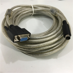Cáp RS232 DB9 Female to Mini Din 8 Pin Male Cable E318309 AWM STYLE 20276 Clear For Dây Chuyền Sản Xuất Auto line 3 Length 10M