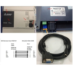 Cáp PLC Programming Mitsubishi FX3SA-30MR Với HMI Weinwiew Touch TK6071IP Cable DB9 Female to Mini Din 8 Pin Male Connector RS485 Length 3M