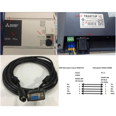 Cáp PLC Programming Mitsubishi FX3SA-30MR Với HMI Weinwiew Touch TK6071IP Cable DB9 Female to Mini Din 8 Pin Male Connector RS485 Length 5M
