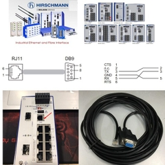 Cáp Cấu Hình Switch Hirschmann Industrial Ethernet Terminal Cable 943 301-001 V.24 interface RS232 RJ11 4Pin 4P4C to DB9 Female Connector Length 5M