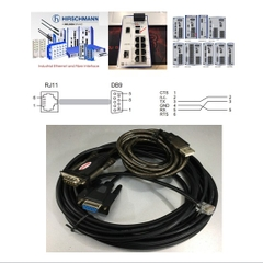Bộ Combo Cấu Hình Switch Hirschmann Industrial Ethernet Terminal Cable 943 301-001 V.24 interface RS232 RJ11 4Pin 4P4C to DB9 Female Và USB to RS232 Unitek Y-105 Connection With Terminal Software Length 6.8M