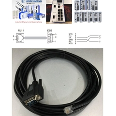 Cáp Cấu Hình Switch Hirschmann Industrial Ethernet Terminal Cable 943 222-001 V.24 interface RS232 RJ11 4Pin 6P4C to DB9 Male Connector Length 5M