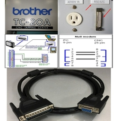 Cáp Lập Trình CNC BROTHER TC-20A to Computer Serial Data Cable DB9 Female to DB25 Male Length 1.8M