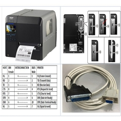 Cáp Máy In Mã Vạch Tem Nhãn Công Nghiệp SATO M84Pro Barcode Label Printer Cable PCM-1970-06 Serial RS232 DB9 Female to DB25 Male Grey Length 3M