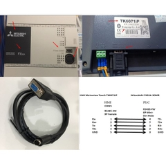 Cáp Kết Nối PLC Programming HMI WEINTEK Touch Với Mitsubishi FX3U/FX3UC/FX3G/FX3S Cable DB9 Female to Mini Din 8 Pin Male Length 1.8M