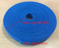Băng Cuộn Bó Cáp VELCRO BRAND ONE-WRA Roll WRAP TAPE YARD ROLL 15mm x 10m Blue For Fiber Optic Network Ethernet Patch Cord Cable Dài 10M