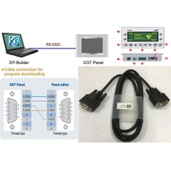 Cáp Lập Trình Programming Cable Download/Upload LS XGT PANEL XP10BKA/DC XP10BKB/DC Với Máy Tính Qua Phần Miền Panel Edition Software RS232C DB9 Female to DB9 Female Black Length 1.8M