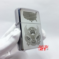 Zippo 250 High Polished Chrome Khắc The Great American Eagle - Zippo 250 Chính Hãng