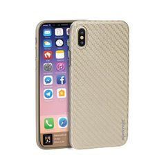 Ốp Lưng Cao Cấp Cho Iphone X Promate CARBON-X.GOLD