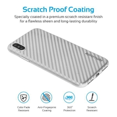 Ốp Lưng Cao Cấp Cho Iphone X Promate CARBON-X.SILVER